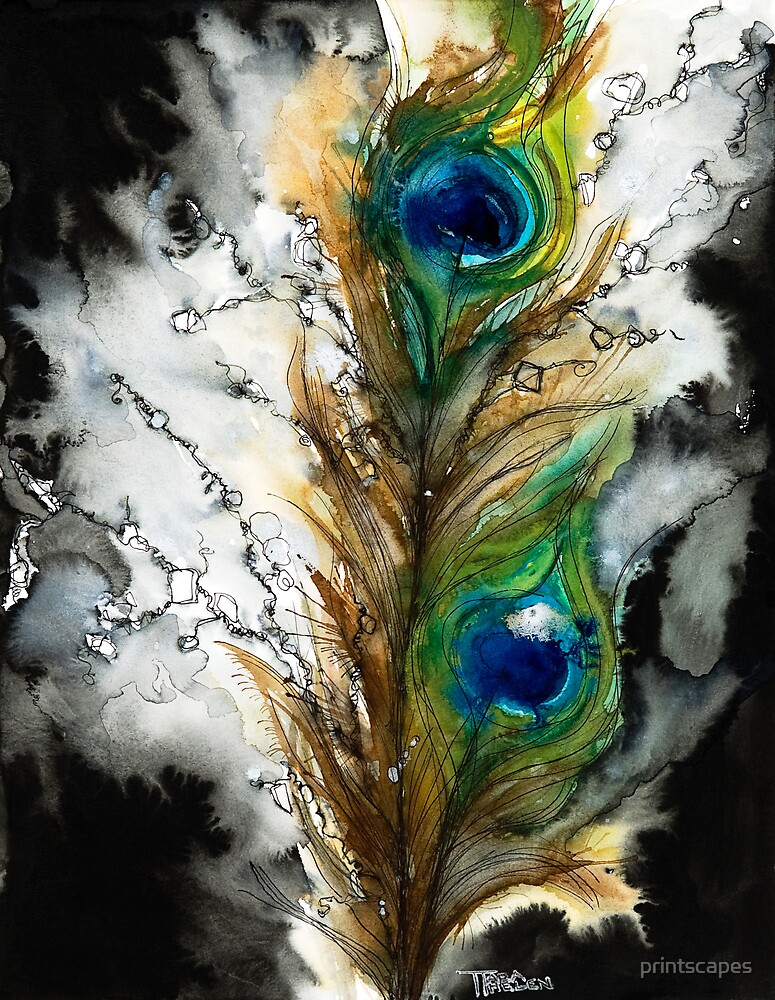 Quot Abstract Watercolor Peacock Feather Quot By Printscapes