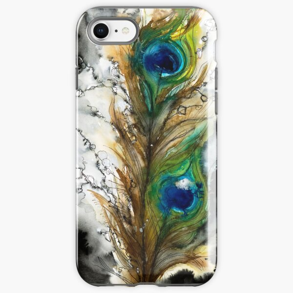 Abstract Watercolor Peacock Feather iPhone Tough Case