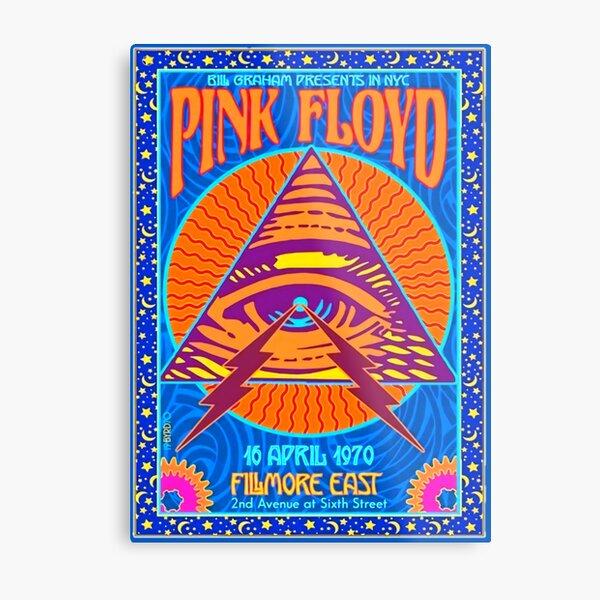 PINK FLOYD AFFICHE DE CONCERT ORIGINAL 1970 NYC FILMORE EAST AQUA COLOR Impression métallique