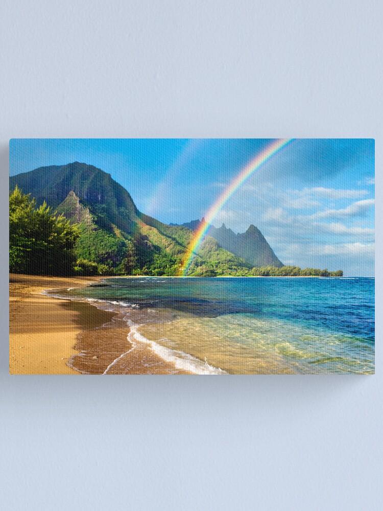 Alternate view of Rainbow at Tunnels Beach Hawaii Canvas Print
