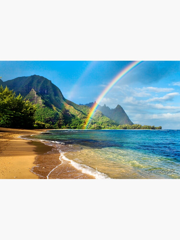 Rainbow at Tunnels Beach Hawaii by printscapes