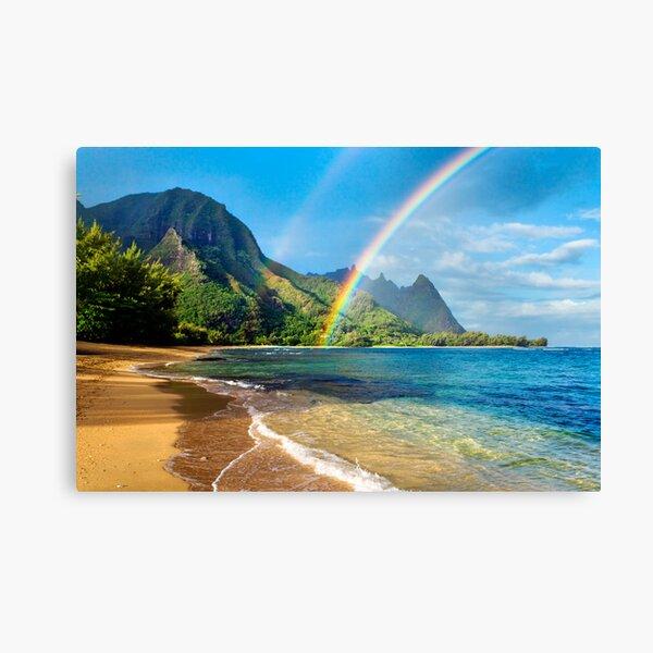 Rainbow at Tunnels Beach Hawaii Canvas Print
