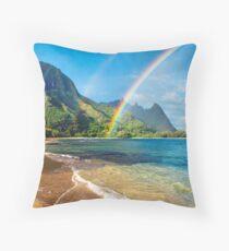 Rainbow at Tunnels Beach Hawaii Throw Pillow
