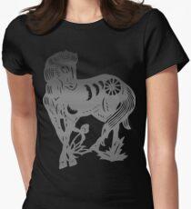 Chinese Zodiac Horse Papercut Women's Fitted T-Shirt