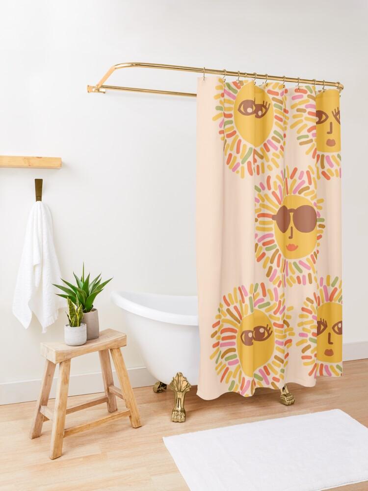 Alternate view of Retro Sunshine Parti - Summer vibes #positivevibes Shower Curtain