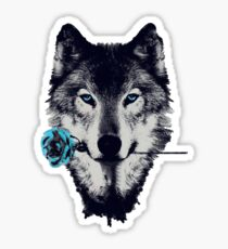Wolf With a Rose Sticker