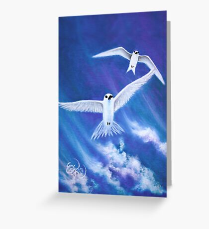 Flying High Fairy Terns - greeting card Greeting Card