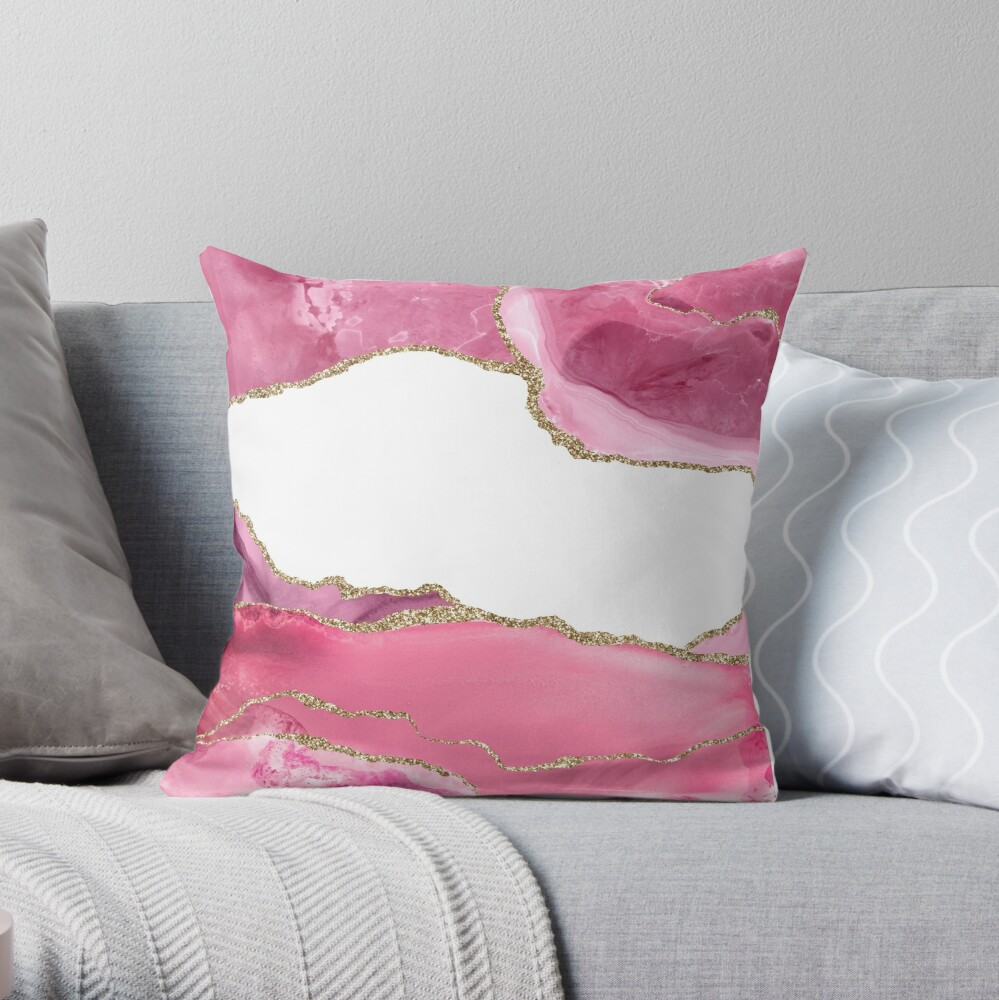 Pink Blush Agate Marble Landscape I Throw Pillow