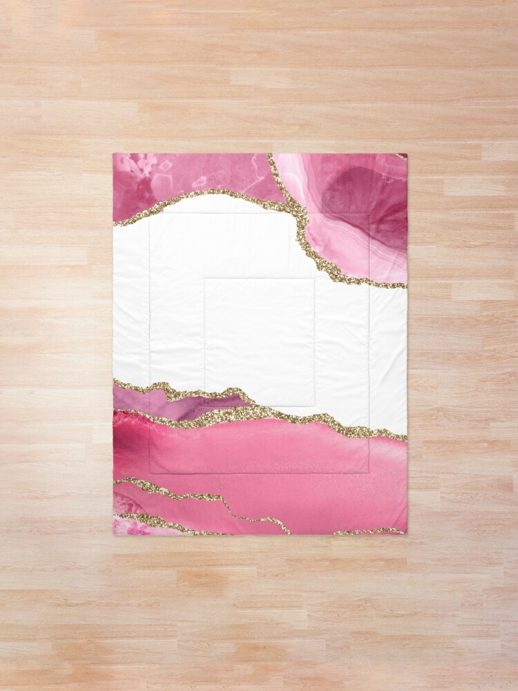 Alternate view of Pink Blush Agate Marble Landscape I Comforter
