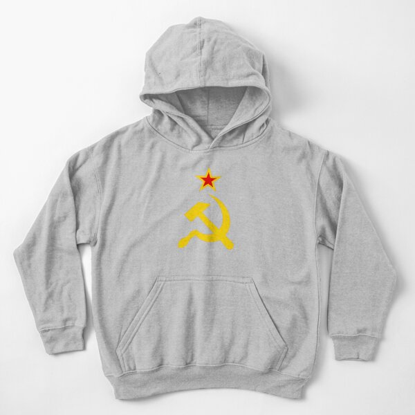 Red star and golden hammer and sickle Kids Pullover Hoodie
