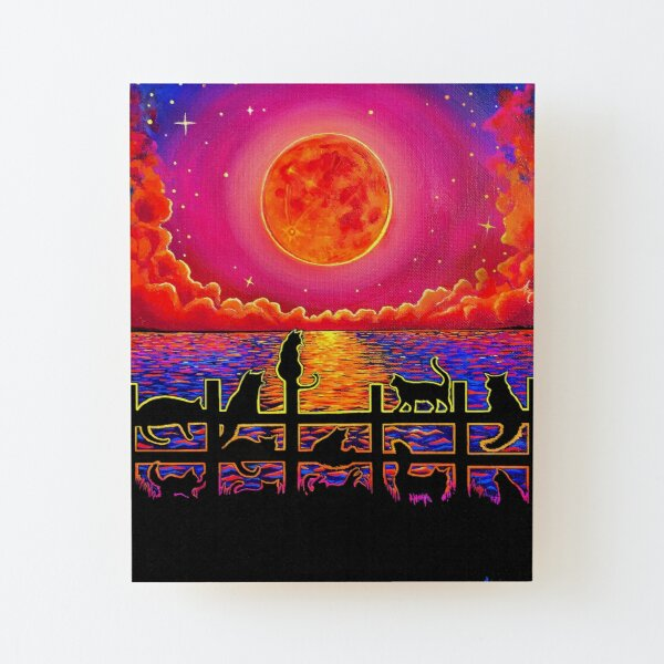 Moonrise Meeting Wood Mounted Print