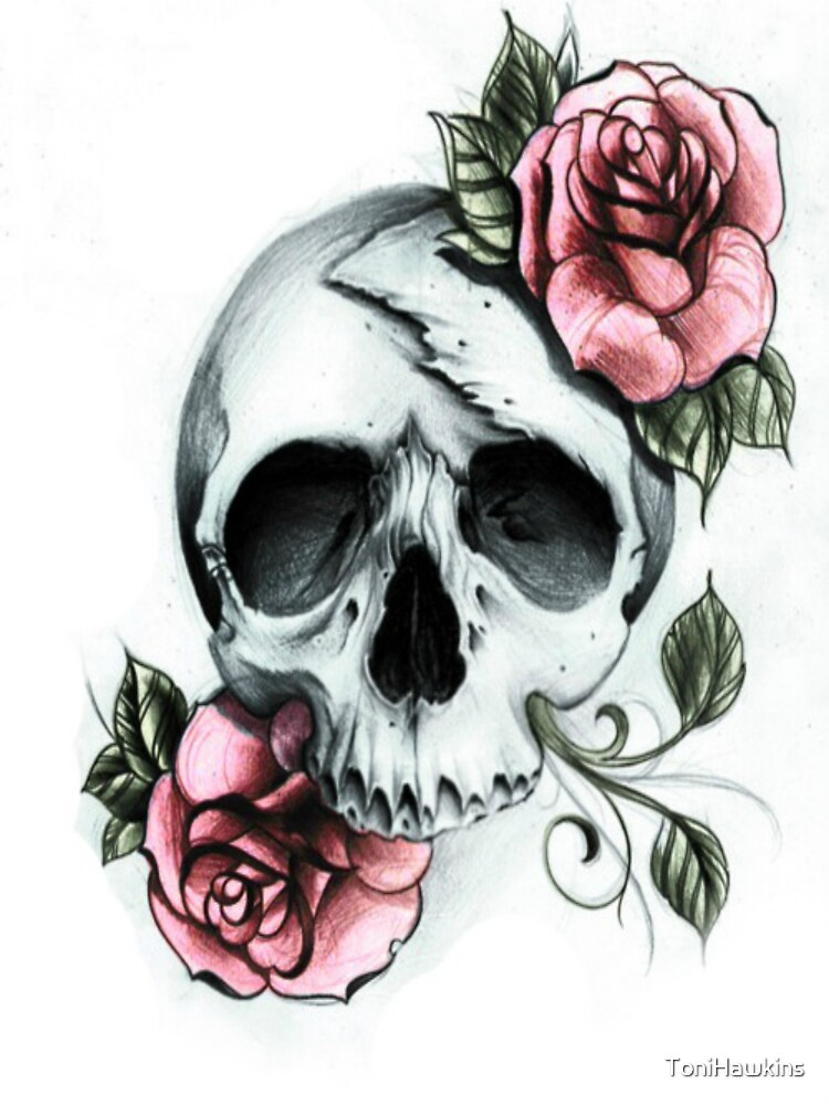It's just a picture of Légend Rose And Skull Drawing