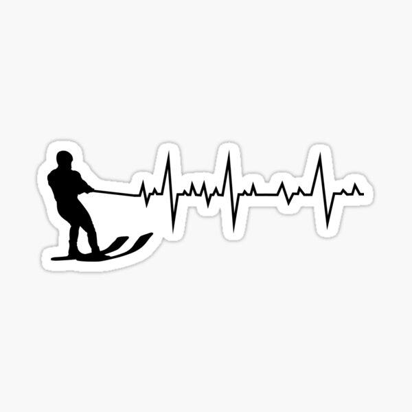Water Skiing Heartbeat Ski Sports Lover Gift Sticker