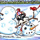 Schnauzer Fun with Snowman by offleashart