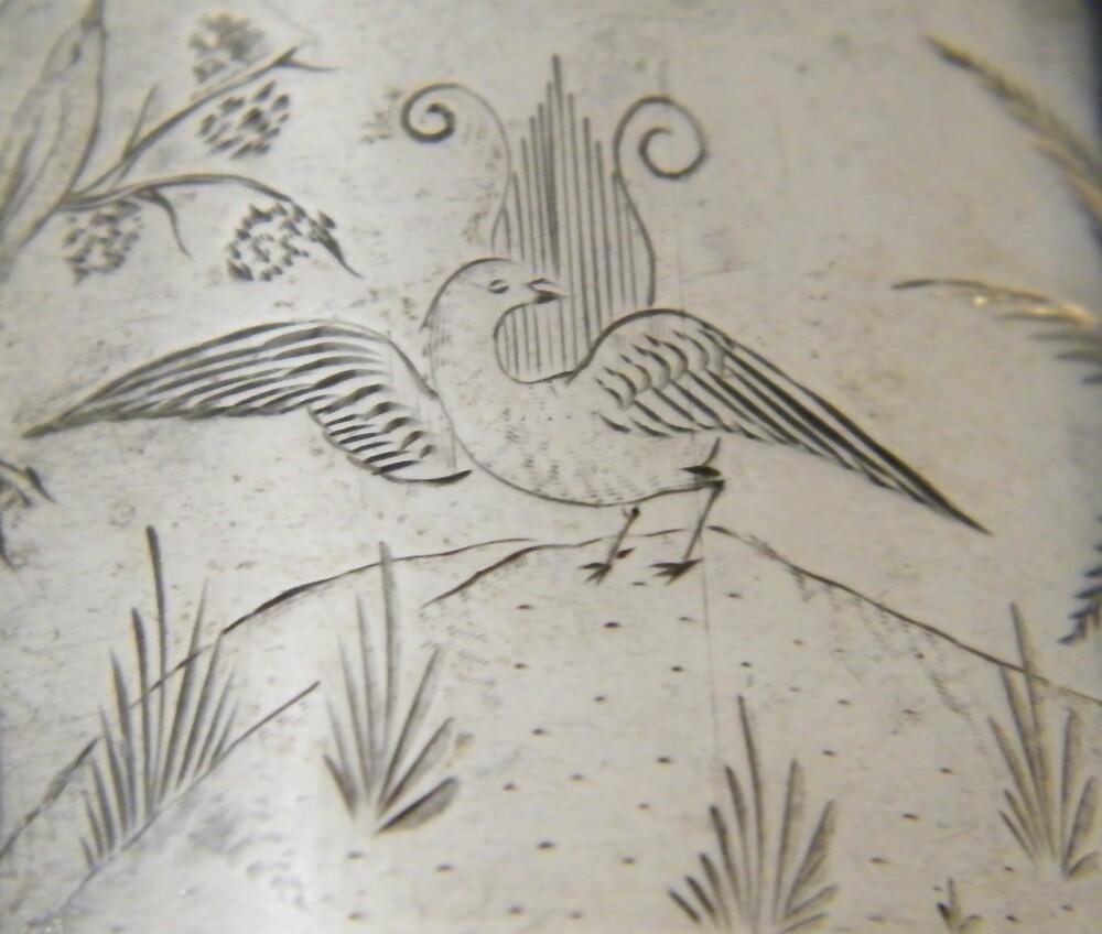 Lyrebird engraving on silver, circa 1880 by staunto