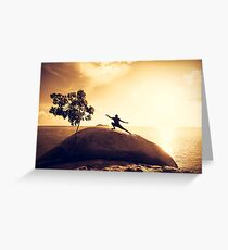 Sunset Tai Chi in Yellow Greeting Card