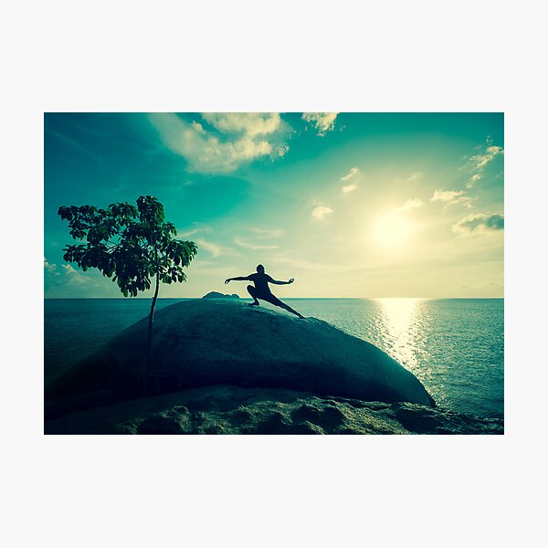 Sunset Tai Chi in Turquoise Photographic Print