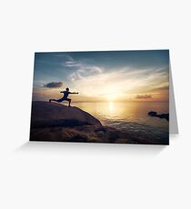 Warrior Yoga by the Ocean Greeting Card