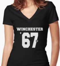 Supernatural - Winchester Jersey #67 Women's Fitted V-Neck T-Shirt