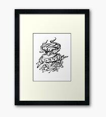 Love pencil drawn heart Framed Print