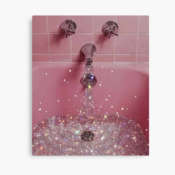 Pink rose pastel vintage glittery bath  Canvas Print