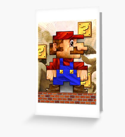 Super Mario Realistic Pixelated Greeting Card