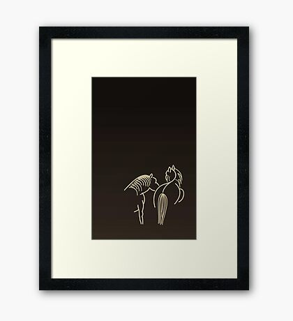 Two Horses (cream) VRS2 Framed Print