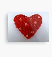 Red Hand Knitted Heart Metal Print