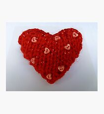 Red Hand Knitted Heart Photographic Print