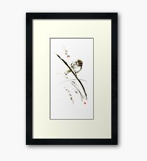 Little bird on branch watercolor original ink painting artwork Framed Print