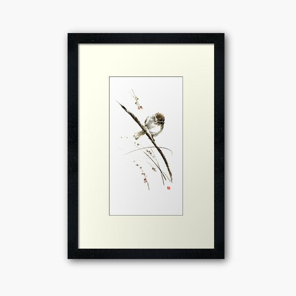 Little bird on branch watercolor original ink painting artwork Framed Art Print
