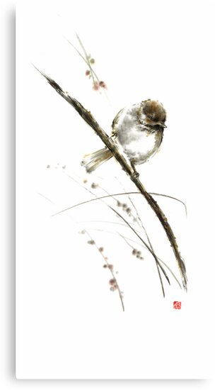 Little bird on branch watercolor original ink painting artwork by Mariusz Szmerdt
