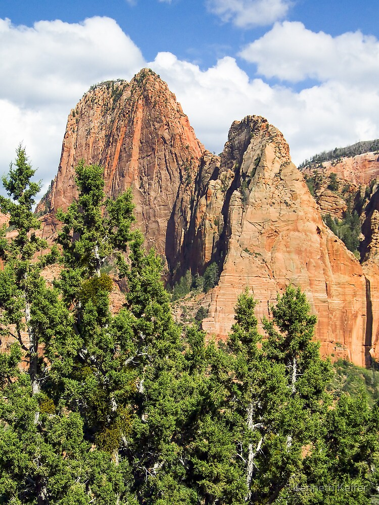 Sandstone Towers in the Kolob Canyons of Zion by Kenneth Keifer