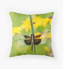 Widow Skimmer Dragonfly in the Backyard Throw Pillow