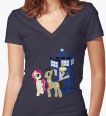 Dr. Whooves Design Women's Fitted V-Neck T-Shirt