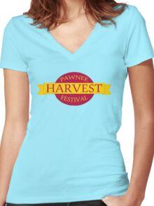 Pawnee Harvest Festival logo Women's Fitted V-Neck T-Shirt