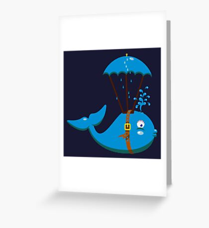 Sky Diving Whale VRS2 Greeting Card