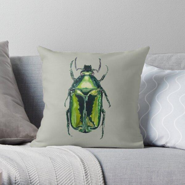 Green Scarab Beetle: Agestrata semperi female Throw Pillow