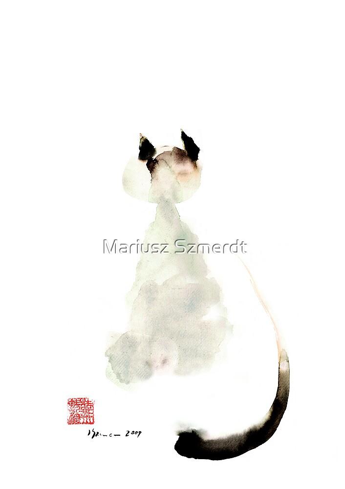 Meow curious cute kitten little cat watercolor painting funny cats by Mariusz Szmerdt