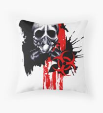Polka Trash Holocaust Skull  Throw Pillow