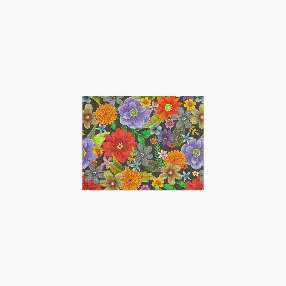 big bright flowers on black Jigsaw Puzzle
