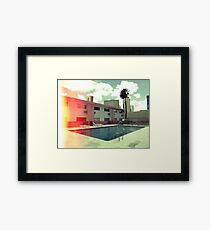 Pink Motel with swimming pool in Kodachrome Framed Print