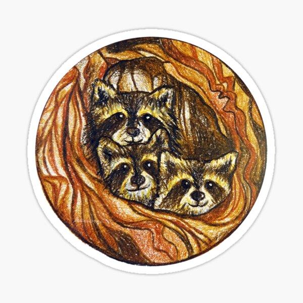 Rakish Raccoon watercolor mini expression art sticker decal by The Fox in the Attic