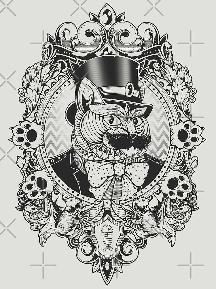 Hipster Mustache Cat by GODZILLARGE
