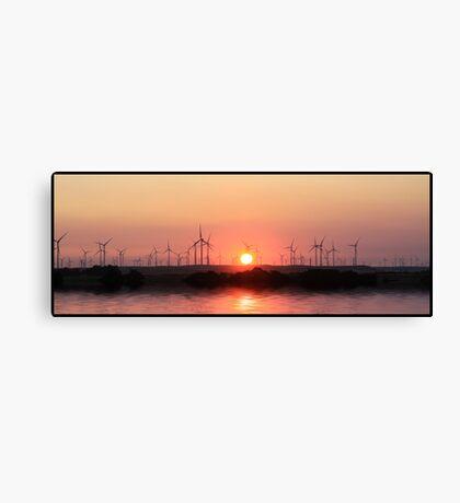 Sunset and windmills  Canvas Print