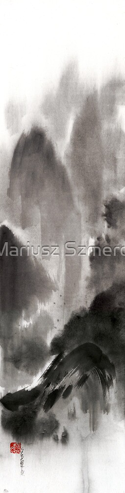 Mountain view sky snow and clouds landscape sumi-e original ink painting by Mariusz Szmerdt