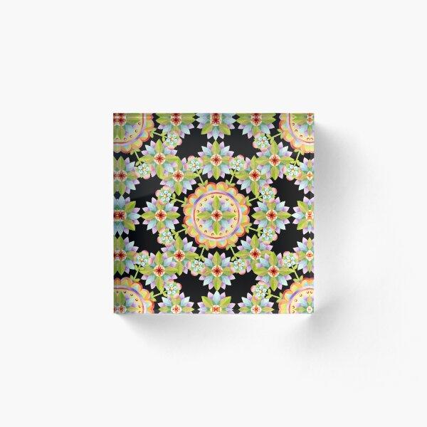 Starflower Mandala Blossoms Acrylic Block