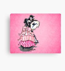Girly Schnauzer Pink Dress Canvas Print