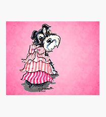 Girly Schnauzer Pink Dress Photographic Print