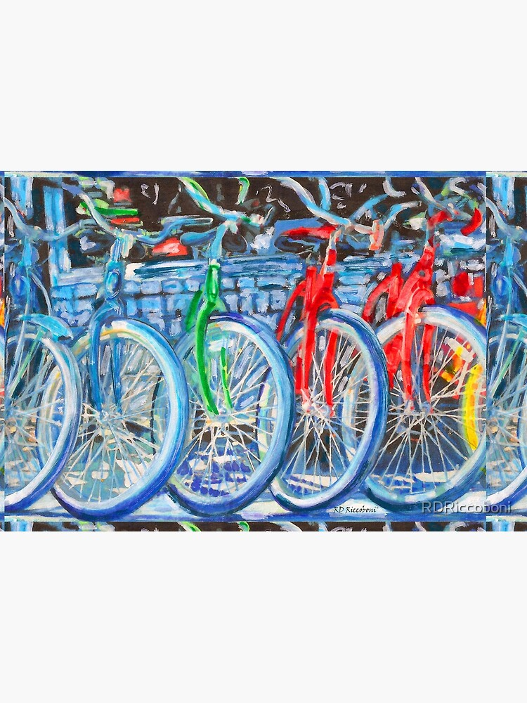 The Bicycle Shop - Bikes in A Row - Painting by RDRiccoboni